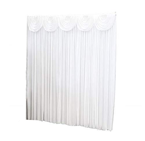 Hintergrund/Vorhang, Popoti Weiß Ice Seide Hintergrund Vorhang Swag Abnehmbarem für Hochzeit,Party Event,Festival,Foto Studio,Fenster Dekoration (2x2m,Vorhänge)