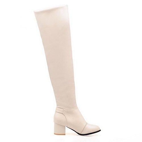 VogueZone009 Damen Niedriger Absatz Blend-Materialien Knie Hohe Stiefel, Grün, 34