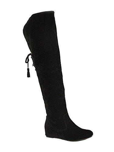 Minetom Damen Winter Warm Schnee Hohe Stiefel Pelzstiefel Flache Schuhe Overknee Stiefel Schwarz 39