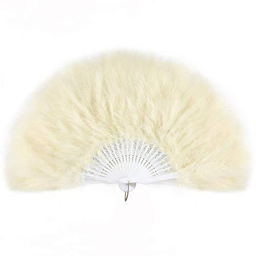Champagner Kostüm Flapper - ArtiDeco Damen Fächer Marabou Feder 1920s Vintage Stil Retro Handfächer Damen Gatsby Kostüm Flapper Zubehör (Champagner)
