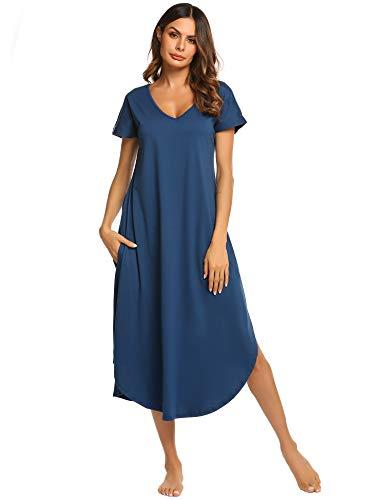 ADOME Damen Nachthemd Kurzarm V-Ausschnitt Sleepshirt Nachthemd High Low Unregelmäßige Baumwolle Lange Nachtwäsche Schlafanzug Kleid mit Taschen -