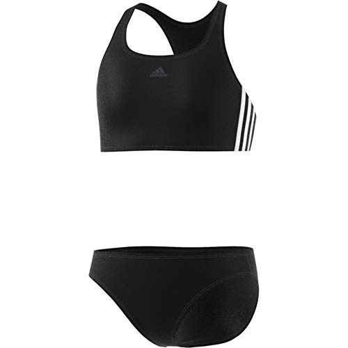adidas Mädchen FIT 2PC 3S Y Swimsuit, Black/White, 7-8Y - Mädchen Größe 8 Bikini