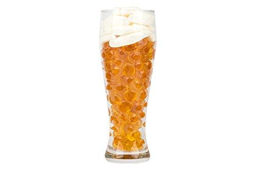 Weizenbier-Glas gefüllt mit Vitamin-Fruchtgummi und weiße Mäuse, echtes Weizen-Bier-Glas, glutenfrei und lactosefrei, 600g