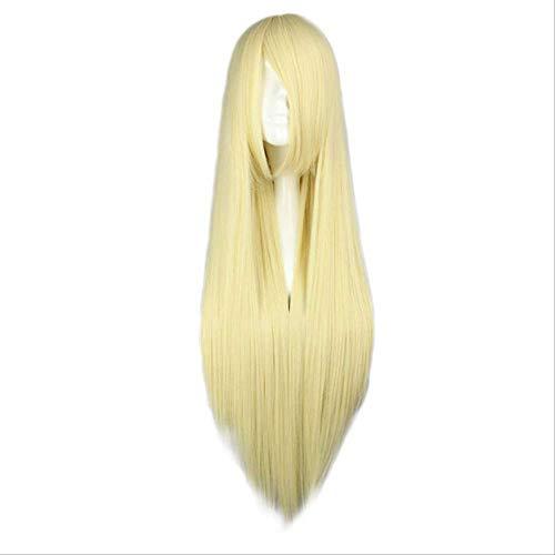 Mhsm Perücke, 15 Farben, mehrfarbig, 80 cm lang, glatt, für Cosplay-Kostüm, für Damen/Partys, Kunsthaar, natürliche Farbe (Hermine Kostüm Haar)