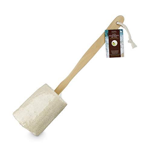 Luffa Rücken-, Körper-, Badebürste Rückenschrubber mit langem Holz-Stiel (abnehmbar), Dusch- Bad &Sauna, für Körper und Rücken mit Anti-Cellulite Effekt für schöne Haut, für Männer & Frauen, vegan