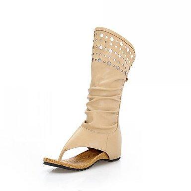 KYDJ @ Élégant en simili-cuir talon plat bottes mi-mollet avec le parti / Soirée creux des chaussures (plus de couleurs) beige