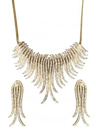 Viva Cynthia Necklace Set In Cz Crystal Diamonds With Gold Two Tone Rhodium Plated For Women