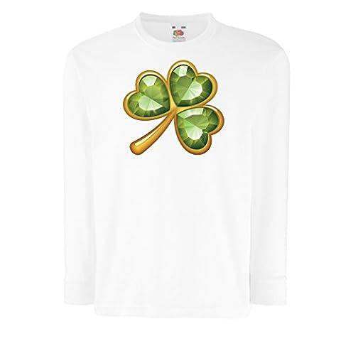Kinder-T-Shirt mit langen Ärmeln Irish shamrock St Patricks day clothing (12-13 years Weiß (Lady Luck-kostüm-hut)