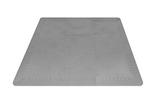 LuBabymats - Alfombra puzzle infantil para bebés de Foam (EVA), suelo extra acolchado para niños, color gris
