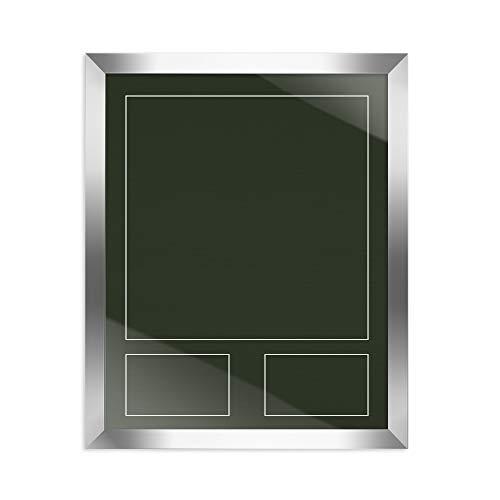 ahmen stabil RahmBig Silber Glanz 50 X 70 cm Rahmen für Trikots, Sport Shirts + Passepartout dunkel Grün ()