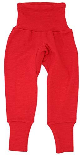 Cosilana Baby Hose lang mit Bund, Größe 50/56, Farbe Rot, 70 % Merinoschurwolle, 30 % Seide