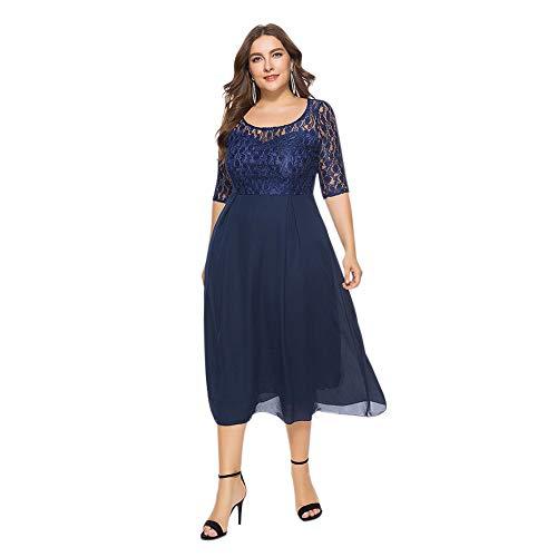 Poonkuos Übergröße Vintage Swing Kleid - Damen Patchwork mit Spitzen Halbe Ärmel Cocktail Abend Hochzeit Elegant Prinzessin Midi Kleid ()