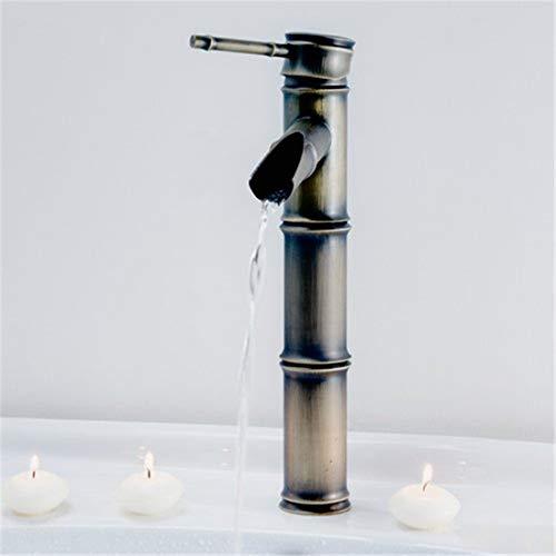 Wasserhahn Küche Bad Garten Einhand-Badezimmer-Bambus-Behälter-Füller-Hahn, Antiker Messing Heiß U. Kaltes Wat Ctzl6307