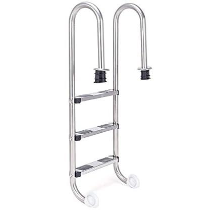 COSTWAY Escalera de Piscina de 3 Peldaños 132 x 50 x 26cm Acero Inoxidable Escalera de Seguridad