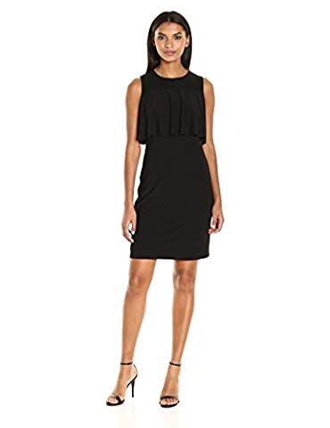 Nine West Women's Sleeveless Sheath Dress with Mesh Yoke and Flounce Detail, Black, 2
