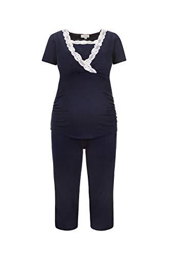 Herzmutter Kurzer Stillpyjama-Umstandspyjama - Nachtwäsche-Pyjama-Set für Schwangerschaft-Stillzeit-Stillfunktion - Schlafanzug mit Spitze-Streifen-Muster - Softes Material - 2500 (L, Blau)