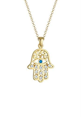 Elli - Collar con Colgante, Mano de Fatima Hamsa, para Mujer, Plata Fina 925 con Cristales Swarovski, 60 centímetros