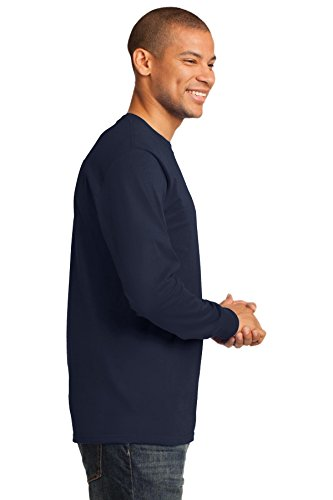 Port & Company Herren Port & Company Long Sleeve Essential T-Shirt Dunkles Marineblau