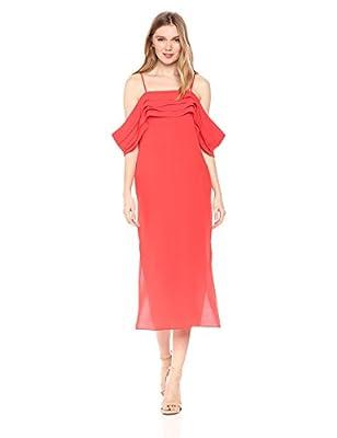 Elliatt Women's Apparel Women's Crepe Midi Sleeveless Sheath Pleat Off Shoulder Detail Cocktail Dress