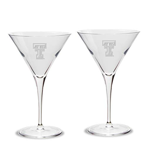 NCAA Texas Tech Red Raiders Luigi Bormioli Titanium Martini Glass - Set of 2, Clear, 10 oz Red Martini-glas