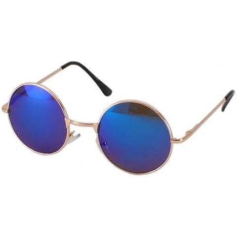 Marco de plata ultra® con rosa lentes Retro de adultos alrededor de las gafas de sol completo espejo lente John Lennon estilo vintage buscar calidad UV400 gafas de sol hombres mujeres