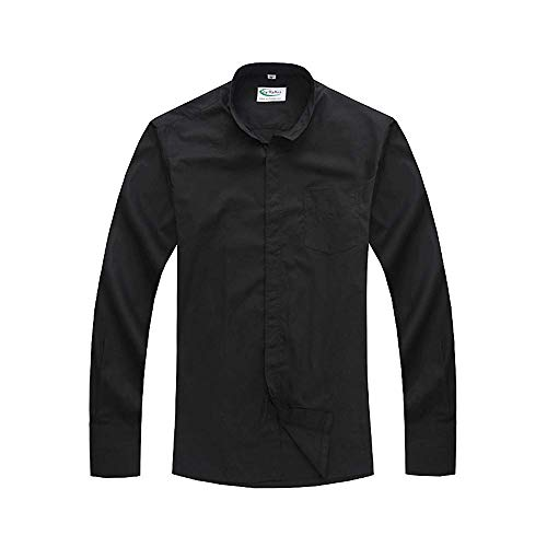 GGS Herren Langarm Hemd Klassisches Priesterhemd mit Tab-Kragen Schwarz 18