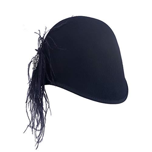 TOBEEY Fascinator für Frauen Elegante Derby Pillbox Wollfilz Hut schwarz Cocktail Formale Beret ()