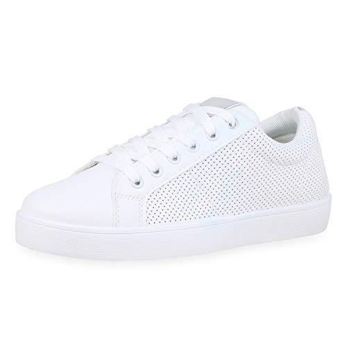 SCARPE VITA Damen Sneaker Low Metallic Turnschuhe Schnürer Leder-Optik Schuhe Lack Freizeitschuhe 176755 Weiss Silber Metallic 39