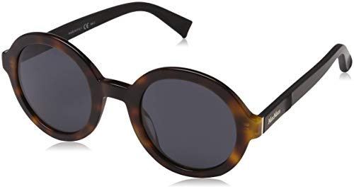 Max mara mm tailored iii ir lty 48, occhiali da sole donna, nero (havana black/grey blue)