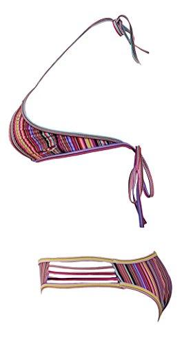 erdbeerloft - Damen High Neck Bikini mit Cut Outs, XS-XL, Viele Farben Mehrfarbig