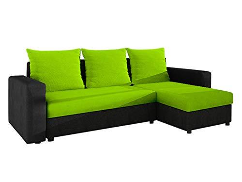 Ecksofa Top! Sofa Eckcouch Couch! mit Schlaffunktion und 2 Bettkasten! Ottomane Universal, L-Form Schlafsofa Farbauswahl (05. Korpus, Seiten, Rückenlehne: Alova 04; Sitzfläche, Kissen: Microfaza 62) -
