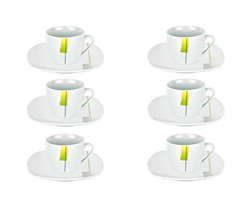 Van Well MANHATTAN 6er Set Espressotasse + Untertasse im, edles Marken-Porzellan, Dekor mit grün-gelbem Farbtupfer und Linien