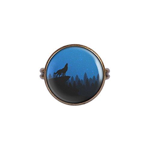 Mylery Ring mit Motiv Wolf Berg Wald Himmel Blau Sterne bronze 16mm
