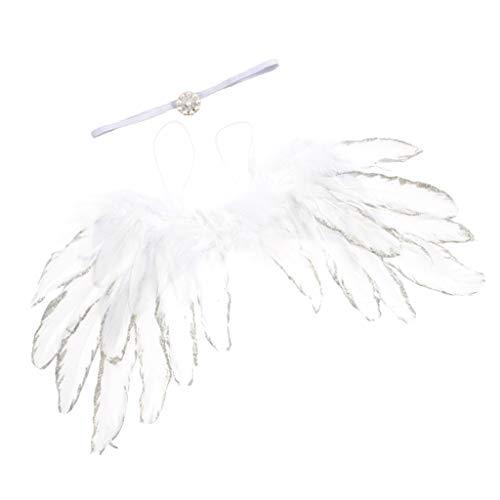F Fityle Engelsflügel Kits für Mädchen Baby Dusche Taufe - Weiß
