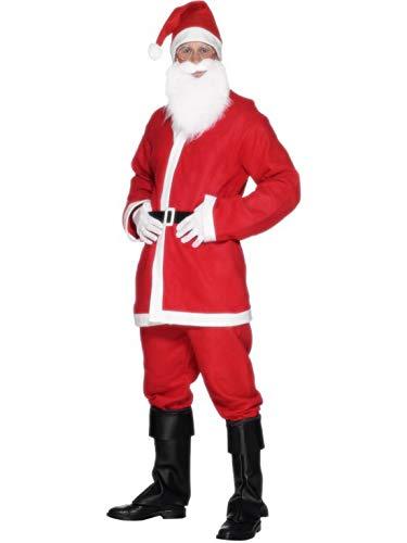 costumebakery - Herren Männer Kostüm Nikolaus Weihnachtsmann, Jacke Hose Gürtel Mütze Bart, Santa Claus, perfekt für Weihnachten Karneval und Fasching, L, Rot