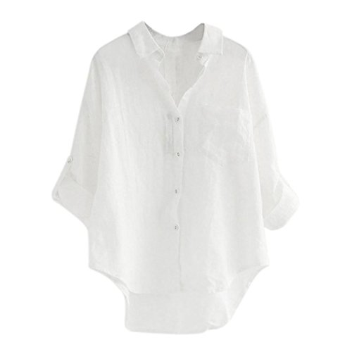 BHYDRY Frauen-Lange Hülsen-beiläufige lose Oberseiten-T-Shirt Knopf-Bluse(2XL,Weiß)