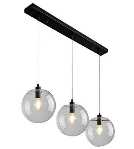 Vintage Industriel Rustique 3-Lights Island Island Chandelier Triple 3 TÊTes Suspendu Au Plafond Luminaire Avec Abat-Jour Rond En Verre Clair