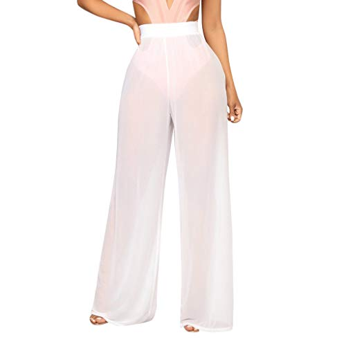 WOZOW Weites Bein Palazzo Hosen Damen Transparent Yarn Swing Extra Lang Long Pant Lose Loose Light High Waist Sexy Beach Party Trousers (M,Sahne) - Curvy Low-rise-jeans