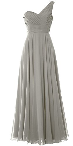 MACloth Women One Shoulder Long Bridesmaid Dress Wedding Party Evening Gown Silber