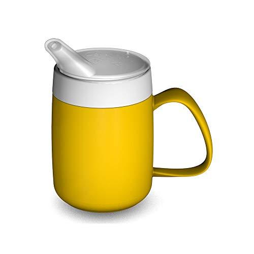Ornamin Becher mit Trink-Trick, Thermofunktion und Schnabelaufsatz 140 ml gelb (Modell 207 + 806) / Thermobecher, Spezial-Trinkhilfe, Schnabelbecher