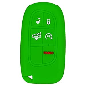 QualityKeylessPlus Silicone Rubber Keyless Entry Remote Fob Protective Case Skin Cover for select 5 Button Chrysler Jeep Dodge Ram Smart Prox FCC ID GQ4-54T