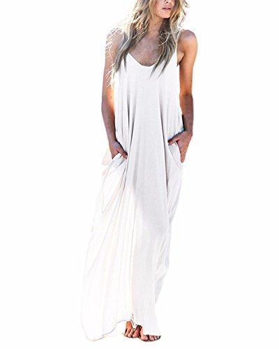Kidsform Femme Robe d'été Longue Boho Sexy sans Manche Chic Maxi Robe de Plage Fluide à Bretelle Soirée Cocktail Casual X-Blanc X-Large/FR42