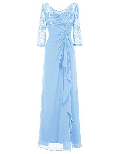 Bbonlinedress Robe de cérémonie Robe de mère de la mariée avec manches longueur ras du sol Bleu