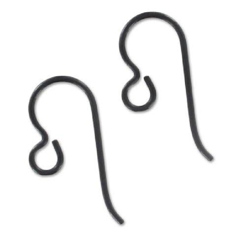 Tierracast Crochets d'oreilles 13 mm en Niobium Noir x2