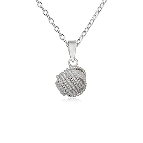 EYS JEWELRY® Damen-Halskette 60 cm Knoten Kugeln 12 x 10 mm blank 925 Sterling Silber silber im Etui Damenkette Anhänger