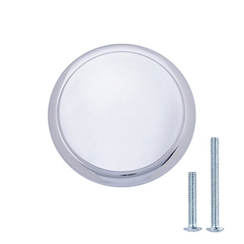 AmazonBasics - Schubladenknopf, Möbelgriff, modern, mit runder Platte oben, Durchmesser: 2,95 cm, Poliertes Chrom, 10er-Pack Chrom-platte