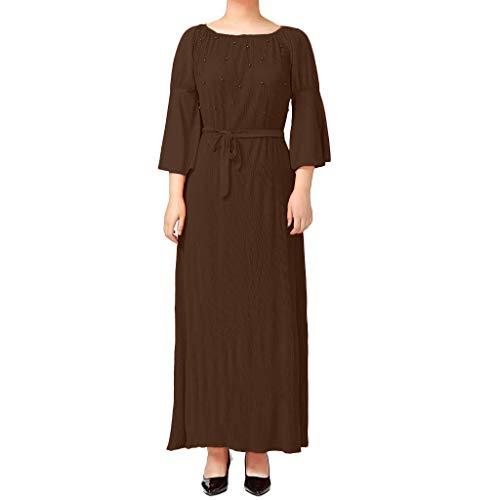 CixNy Muslimische Vintage Langarm Kleid Frauen Kleider Drucken Perle Dekoration Tunika Abaya Dubai Damen Casual Abendkleid Hochzeit Kaftan Robe Muslim Lang Maxikleid Islamische ()