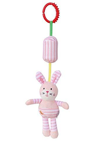 Luxury-uk Soft Book für Kleinkinder Cartoon Tier hängenden Rassel Kleinkind Spielzeug, weiche Flock Stoff, mit Klingel (Kaninchen)