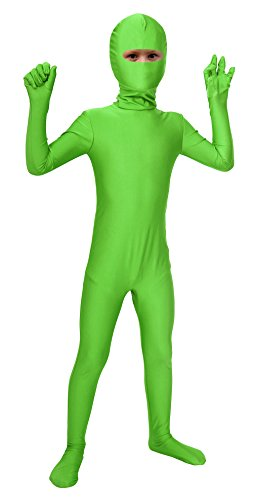 Sheface Kids Spandex Eyes Open Bodysuit Fancy Dress Costume (Large, Lime Green) (Halloween-kostüme Green Lime)