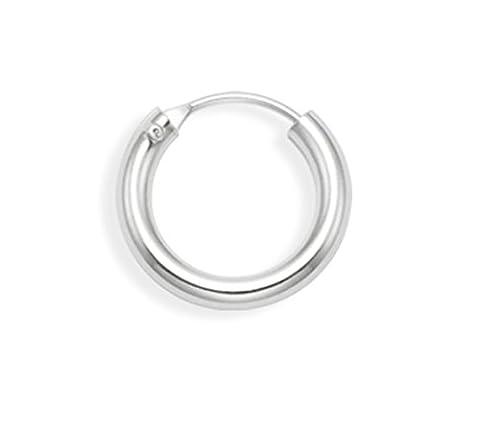 Men's Sterling Silver SINGLE thick Hoop Earring - SIZE: 14mm x 2.5mm - MONEY BACK GUARANTEE